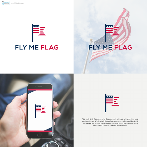 Design a patriotic, clean, contemporary logo for Fly Me Flag