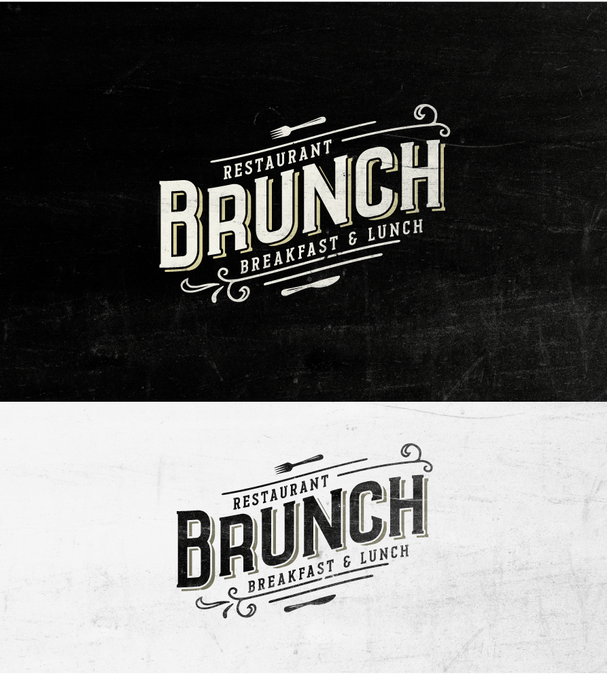 Vintage style logo for brunch restaurant breakfast and lunch