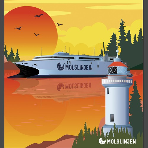 Multiple Winners - Classic and Classy Vintage Posters National Danish Ferry Company Design by Carissa_design