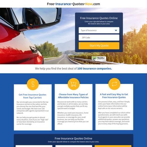 Redesign Insurance Quote Comparison Site Landing Page Design Contest 99designs