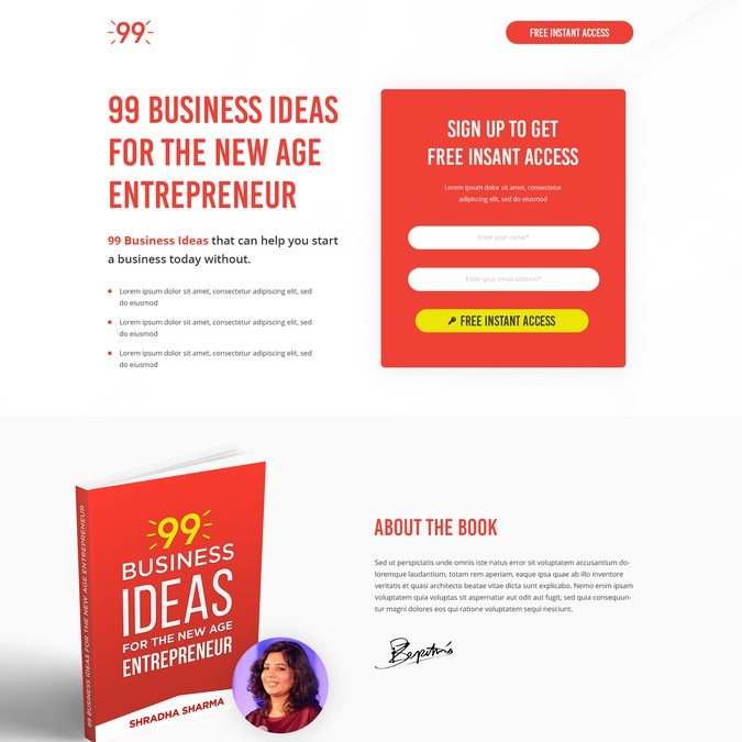 Design A Landing Page For An Ebook Guaranteed Contest
