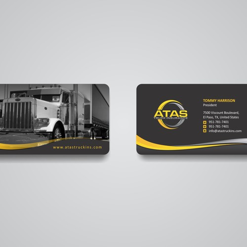 Atas truck business cards contest business card contest for Trucking business card design