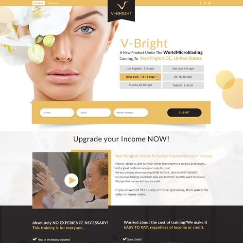 Landing page for a training program - hign end spa procedure