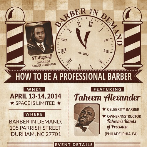 Create an exciting flyer for vintage barber shop Design by GreenCherry