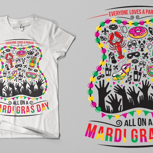 Festive Mardi Gras shirt for New Orleans based apparel company Design by revoule