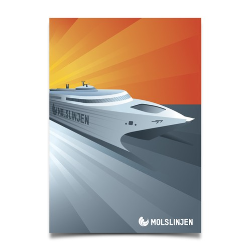 Multiple Winners - Classic and Classy Vintage Posters National Danish Ferry Company Design by maxponto
