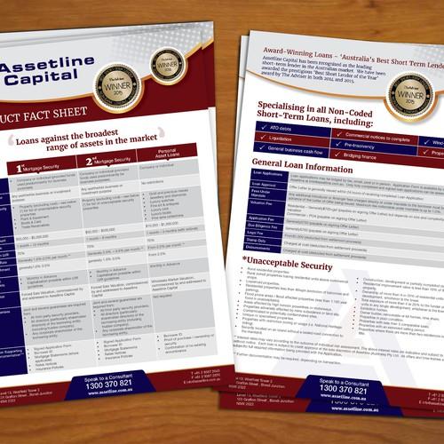 award winning brochure design - create a 2 page product brochure for award winning lender
