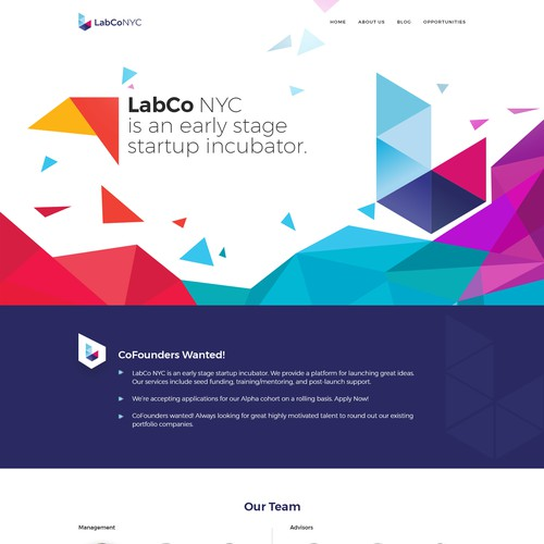 Dynamic Landing Site for Tech Startup Incubator | Web page