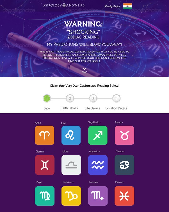 Create a high converting Landing Page for an Astrology