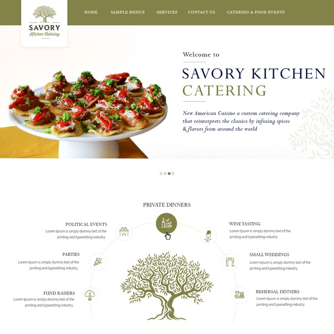 Savory Kitchen Catering Web Page Design Contest