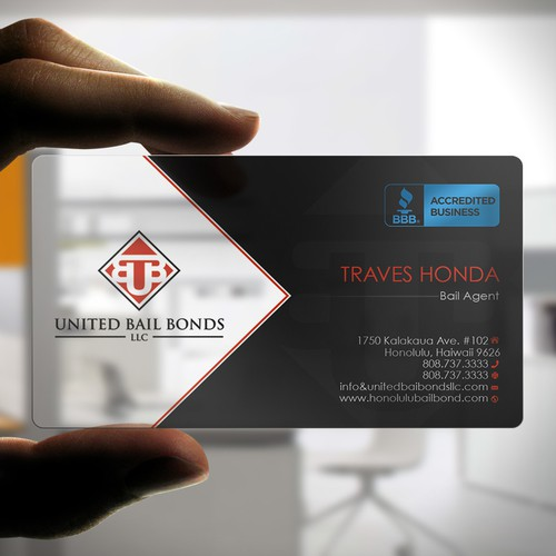 Creative eye catching business card design for bail bonds company entries from this contest colourmoves