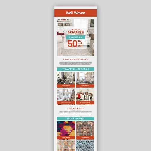 Marketing email template for rug