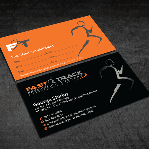Physical therapy business card design for sports medicine related runner up design by designc colourmoves Gallery