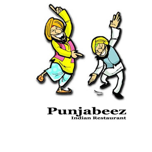 punjab bhangra cartoon for indian restaurant logo design