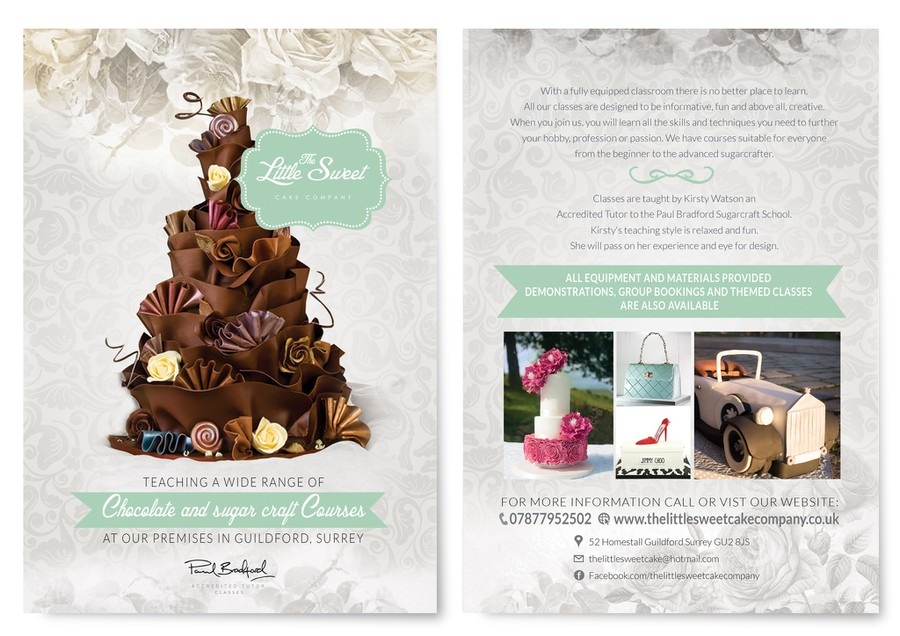 create a a5 shabby chic vintage business flyer for my cake