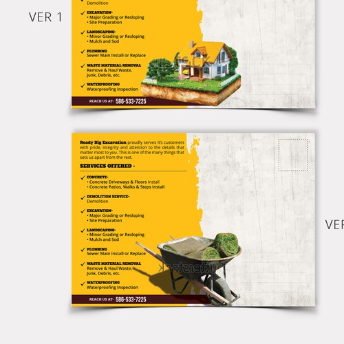 Exciting and rugged landscape postcard for Ready Dig Excavation Design by pallabip
