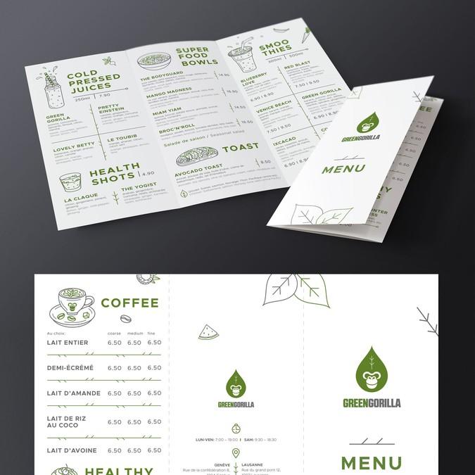 Healthy Cafe Geneva - MENU design | Concours: Menu