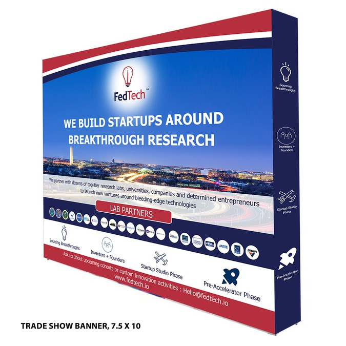 Make a tradeshow banner for a tech entrepreneurship accelerator
