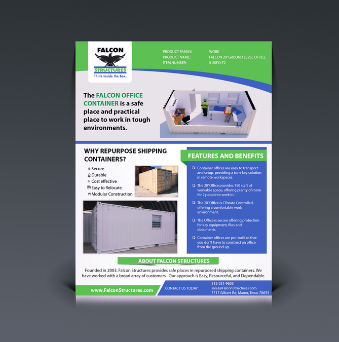 create two one page brochure templates for repurposed shipping container products