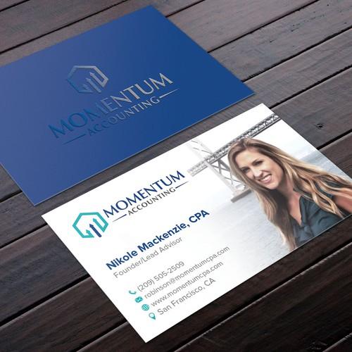 Design a business card for momentum accounting a modern cloud design finalista por felix sh reheart Choice Image