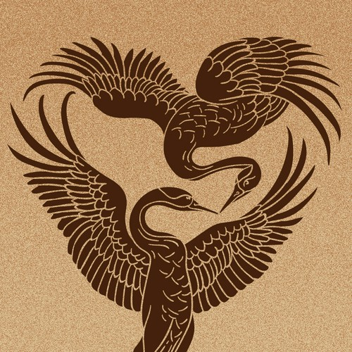Husband + wife crane tattoo design Design by Doroteea