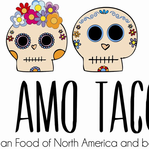 Create a mexican food blog logo with skull logo design for Create blog logo