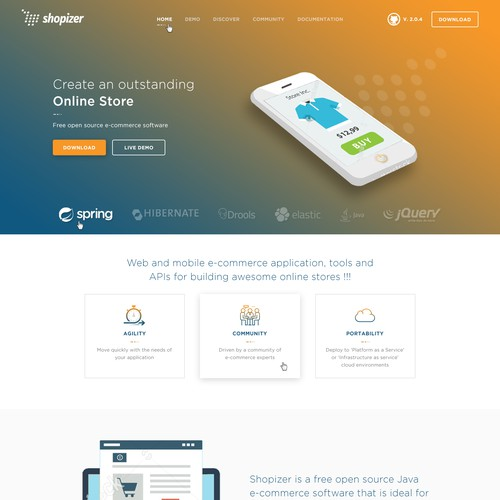 Shopizer e commerce home page redisign | Landing page design