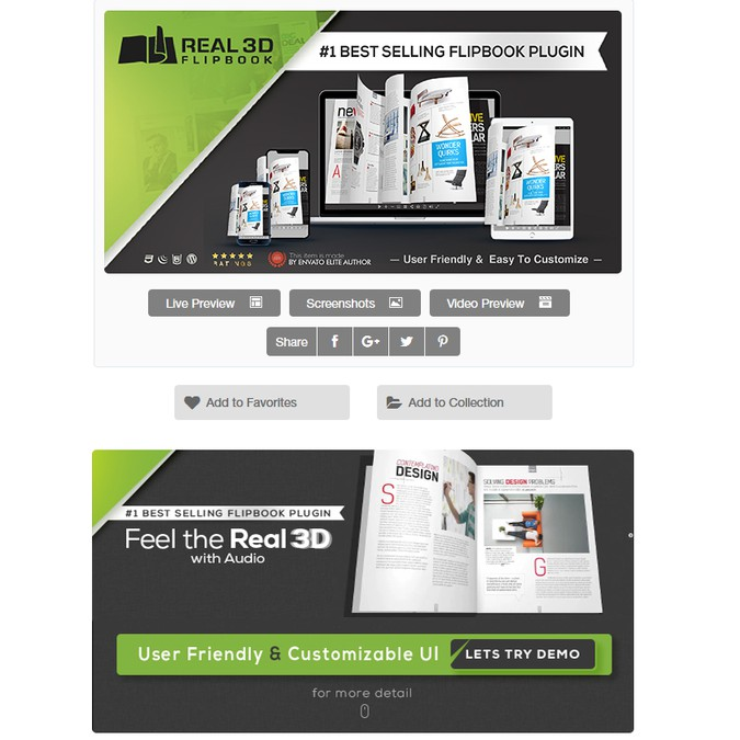 Envato item page design for Real3D Flipbook WordPress plugin