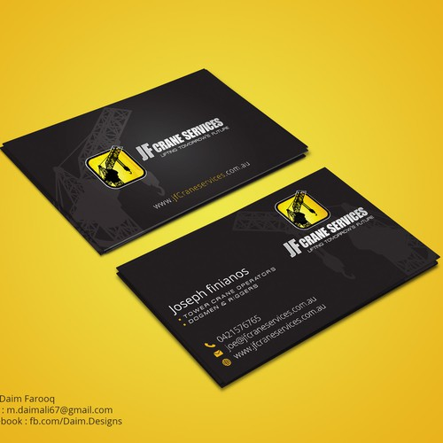 Creative bussiness cards for a crane company business card contest runner up design by daim designs colourmoves