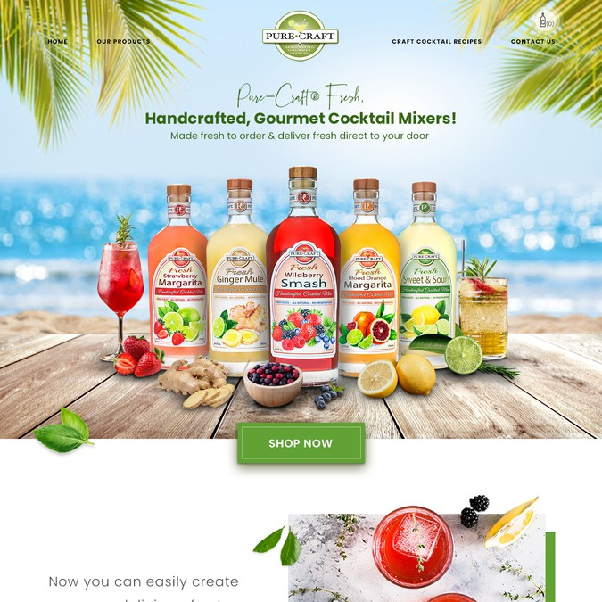 Design A New Website For Fresh Craft Cocktail Mix Company