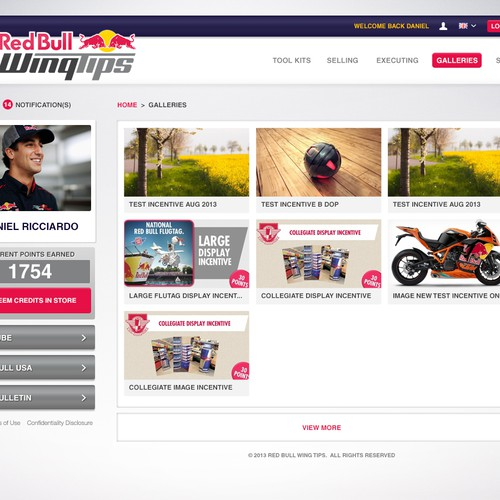 Design Needed for Internal Red Bull Website | Web page ...
