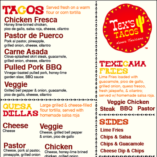 Tex S Tacos Food Truck Menu