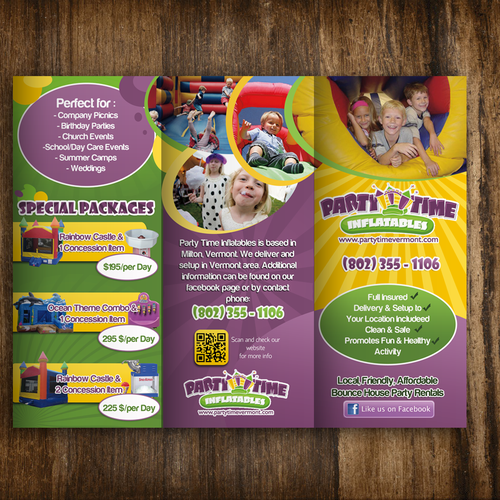 Brochure Design For Party Time Inflatables Brochure Contest