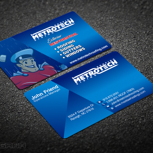 Kick azz business card metrotech roofing corp business card contest runner up design by anugrah reheart Choice Image