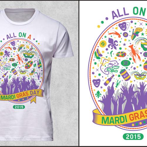 Festive Mardi Gras shirt for New Orleans based apparel company Design by netralica
