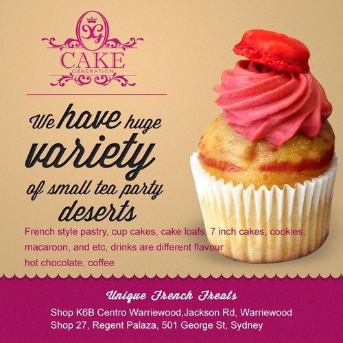newspaper advertisement for cake generation
