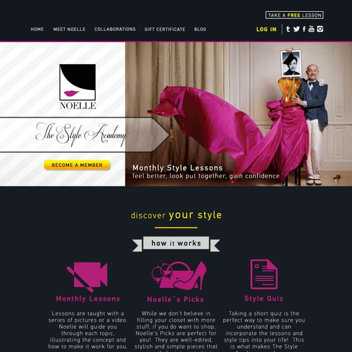 Create A Sleek Chic And Stylish Website For The First Online Style School Web Page Design Contest 99designs