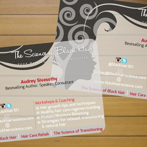 Unique business card for hairbeauty author speaker business runner up design by ajt3kings colourmoves