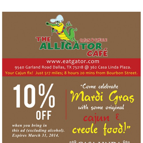 Create a Mardi Gras ad for The Alligator Cafe Design by Brushwork D' Studio