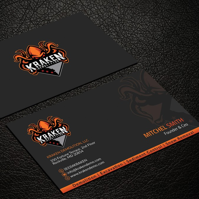 Creative and unique business card for demolition company business winning design by seerat razzaki colourmoves