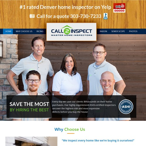Homepage for a local home inspection business - needs your ...