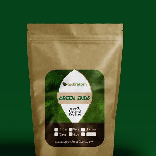 Create a clean package design for Get Kratom | Product label