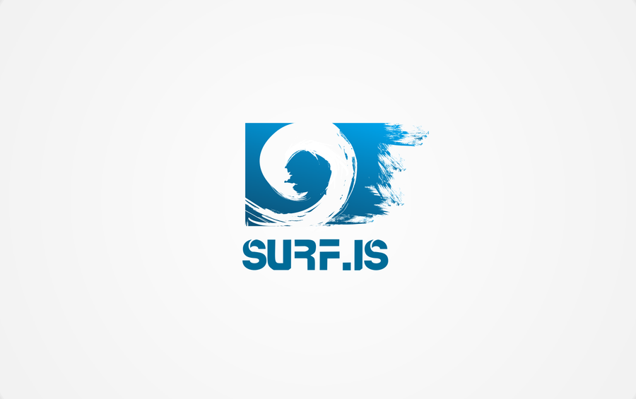 create a winning surfing logo for smiling icelandic tourist company