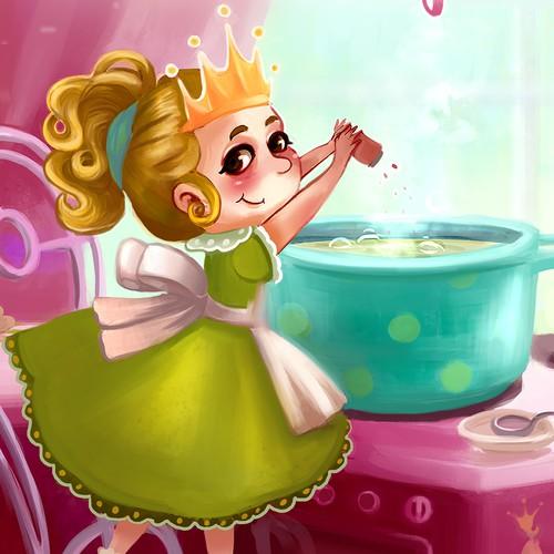 """Princess Soup"" children's book cover design Design by filvalery"