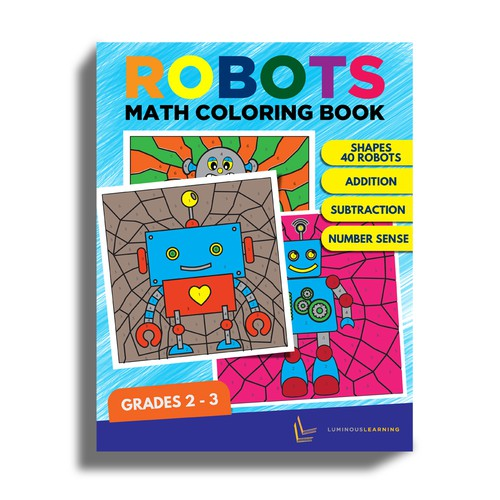 Robots Math Coloring Book For Kids Book Cover Needed Book