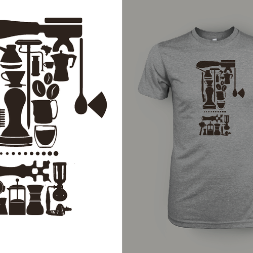 Coffee Collage T-Shirt Design Using Ink Made From Coffee Grounds Diseño de Ian Shaw Design
