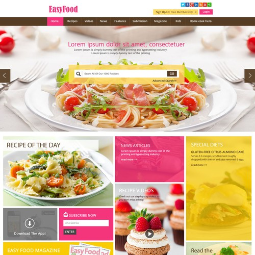 Homepage needed for a food website re design web page design contest runner up design by purepixel forumfinder