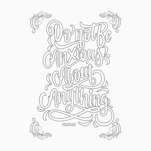 """Create 8x8"""" Hand Lettered Coloring Poster Page Design by Zainal_Art"""