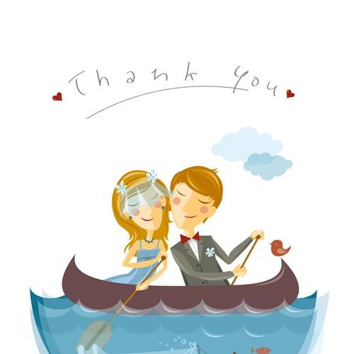 Whimsical Wedding: Thank You Postcard Réalisé par jaworka