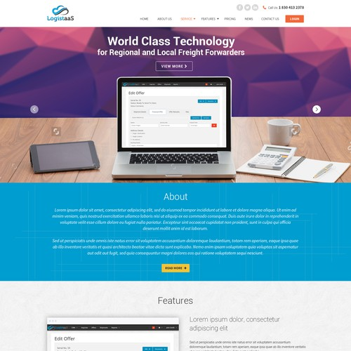 Design the homepage of the upcoming revolutionary online logistics